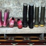 Wellies in the hall at Coolatore House, Co. Westmeath.